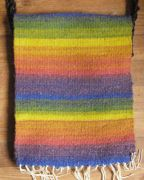 Weft-faced bag woven on RH loom from rainbow Vendeen