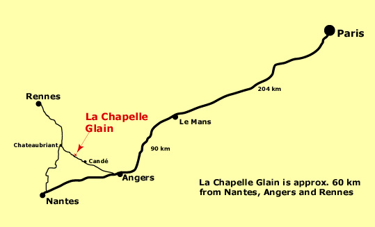 La Chapelle Glain is approx. 60 km from Rennes, Angers and Nantes and 360 km from Paris.