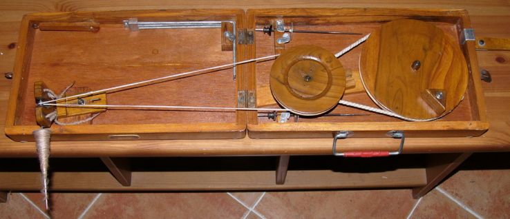 Indian box charkha, open